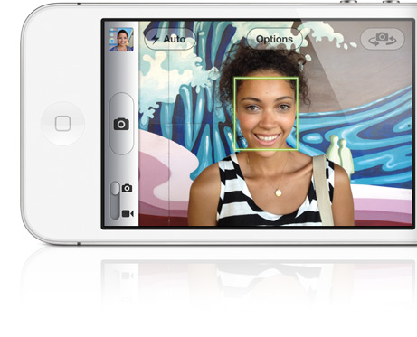 Facial recognition on the iPhone 4S' camera app.