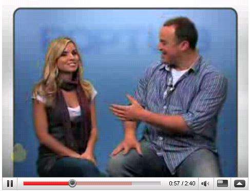 Poptub features, among other things, interviews. Here host Maria Sansone interviews Matt Iseman of Sports Soup.