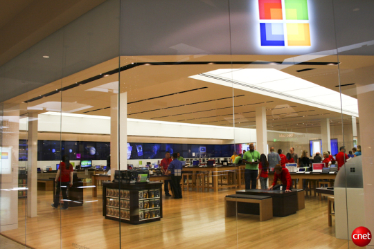 Microsoft's retail store in Mission Viejo, Calif., takes a page from Apple's efforts. Microsoft launched into its own retail business in 2009.