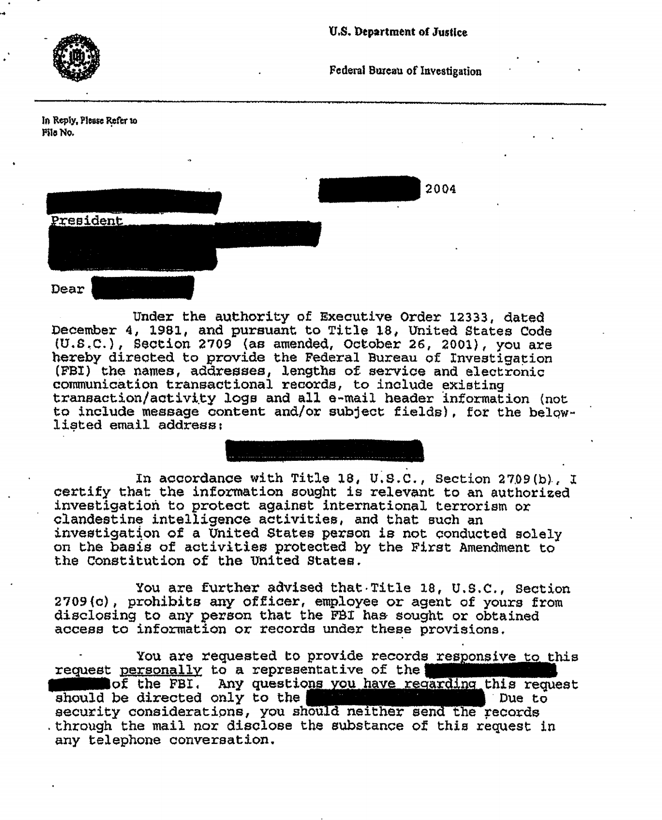 Excerpt from the national security letter, or NSL, that Nicholas Merrill received from the FBI.