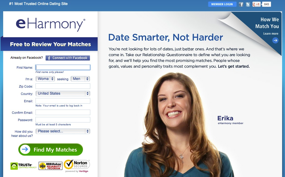 eHarmony says some passwords of its members have been compromised.