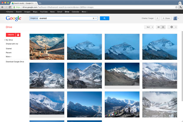 Google Drive lets people view files as meaningful thumbnails through the Web interface. Integration of Google Goggles lets the service recognize some images, in this case finding images of Mount Everest. And it transcodes videos into multiple formats for viewing with a variety of browsers and devices.