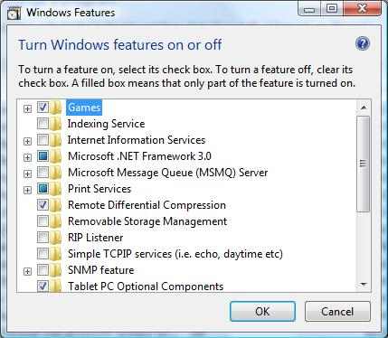 The Windows Features settings in Vista's Programs and Features applet