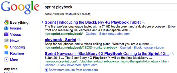 Google's Sprint PlayBook 4G search result