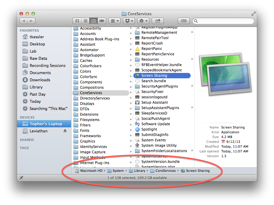 CoreServices folder in OS X