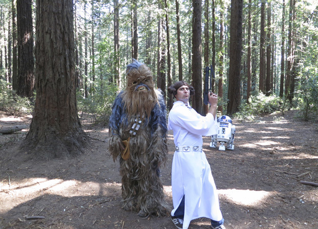 Strange dreams are made of this. Tory Belleci, Chewbacca, and R2-D2 together at last!