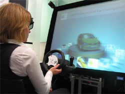 A woman uses virtual-reality technology to preview a vehicle's options.