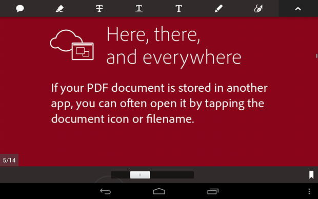 Adobe's latest Reader app for Android users.