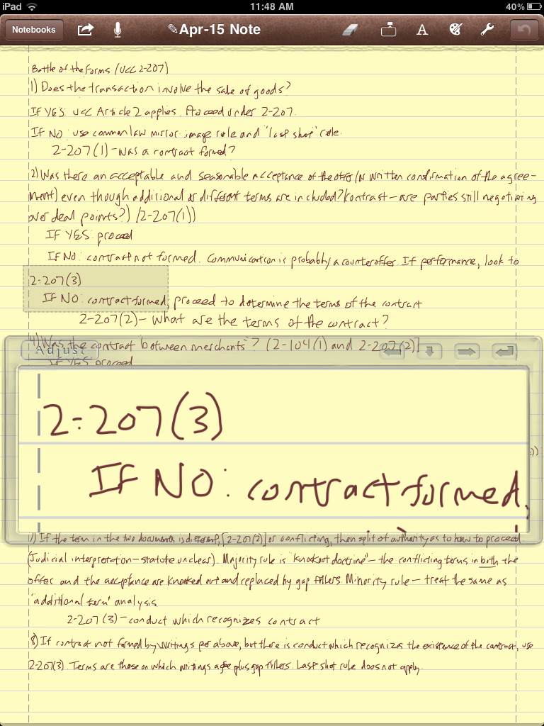 Notes Plus text entry in portrait mode