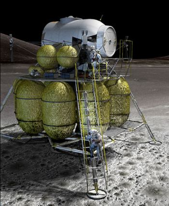 As envisioned, the new lunar lander will have room for four astronauts and supplies for seven days.
