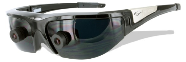 Vuzix builds two displays directly into its Wrap 920AR glasses.