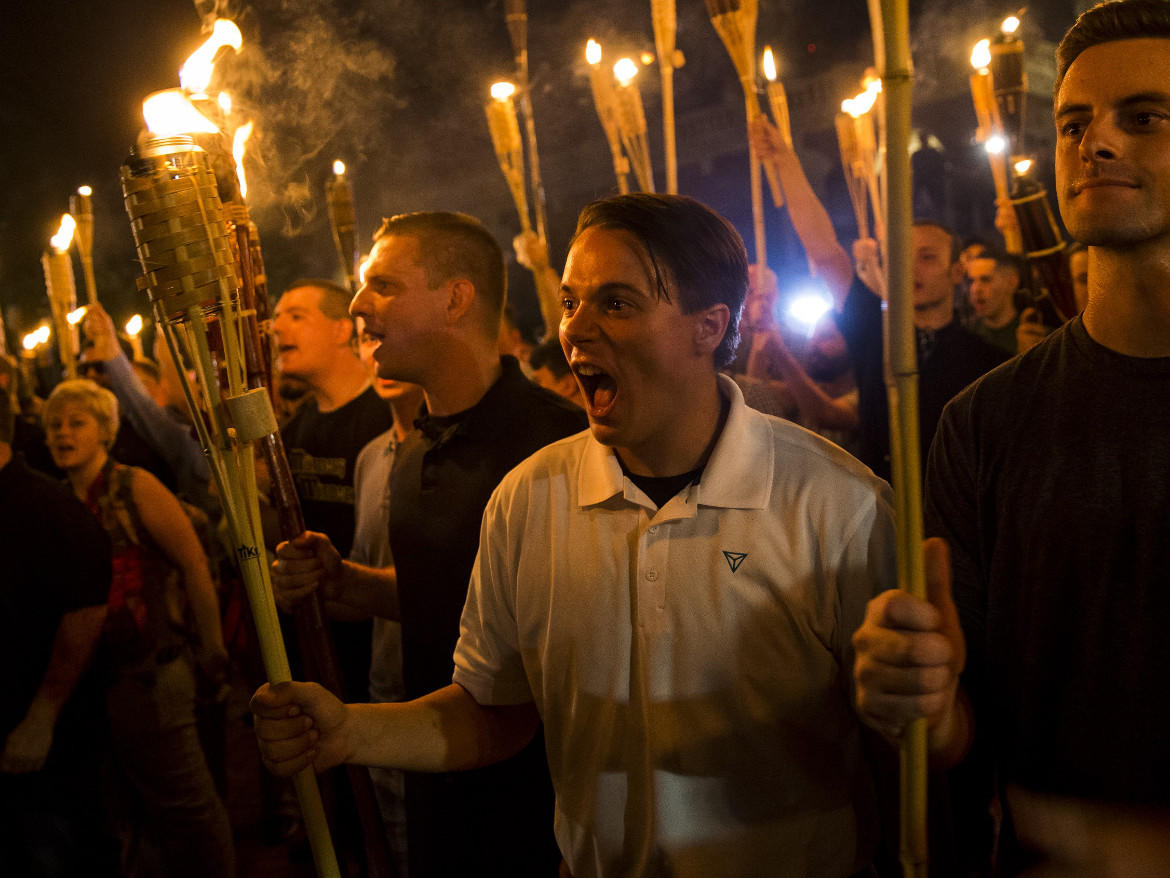 White supremacists marching in Charlottesville, Virginia, in August 2017.