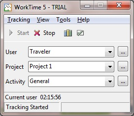 WorkTime time-tracking window