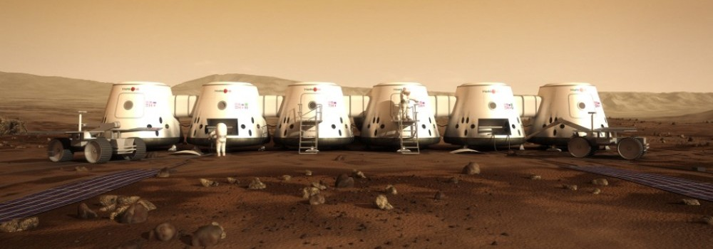 An artist's rendering of Mars One's planned Mars colony. Some parts of the colony will be buried underneath Martian soil to protect against radiation, according to the non-profit project's plans.