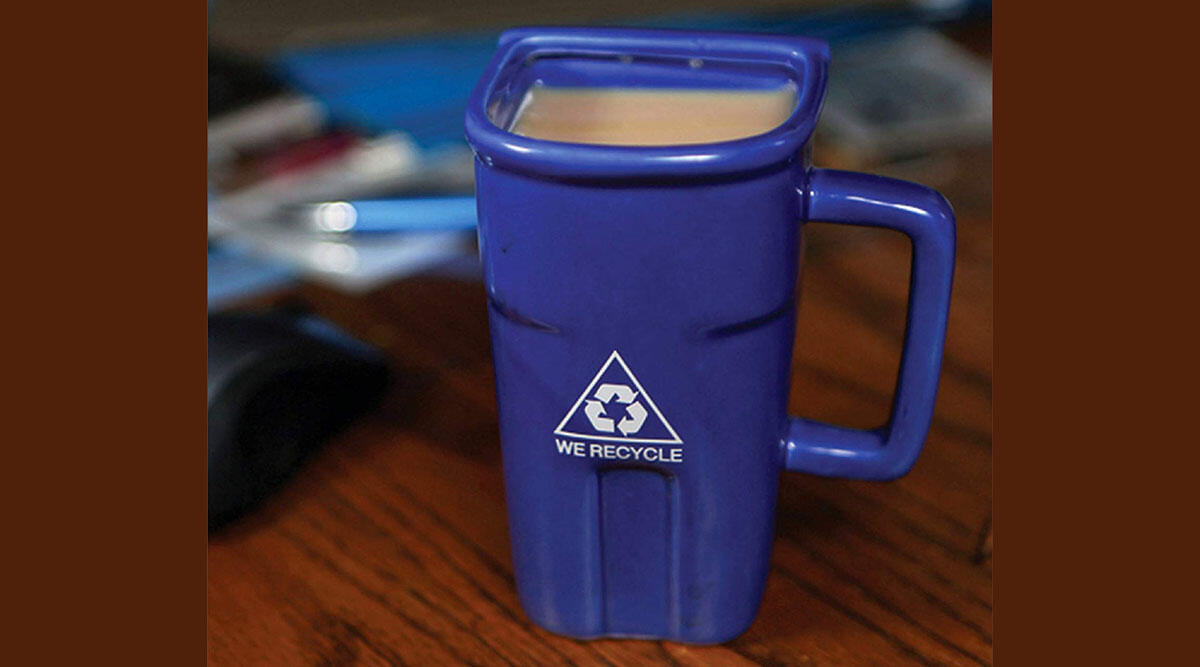 A mug for drinking that trash coffee at the office