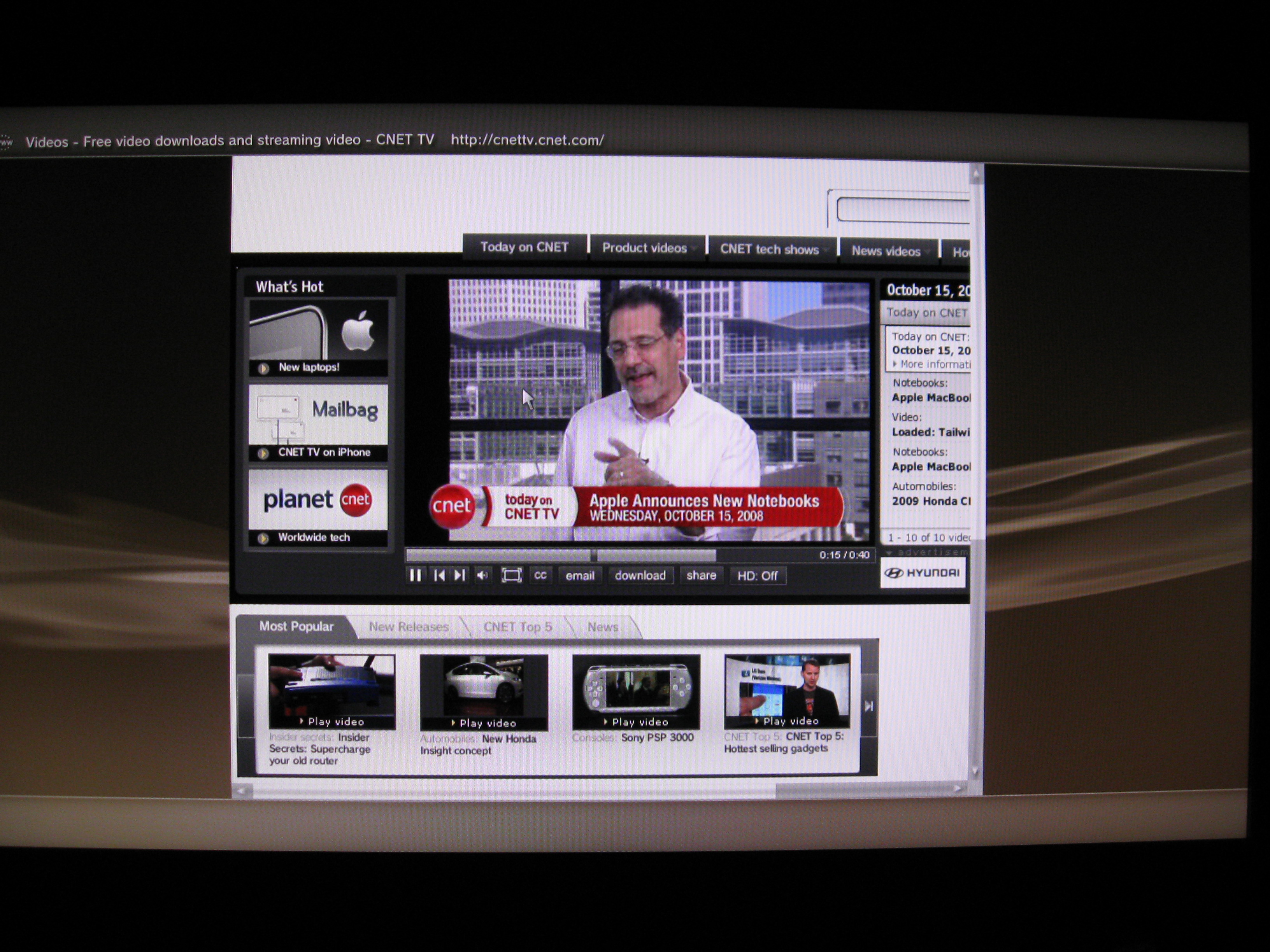 screenshot of CNET TV running on the PS3's updated browser