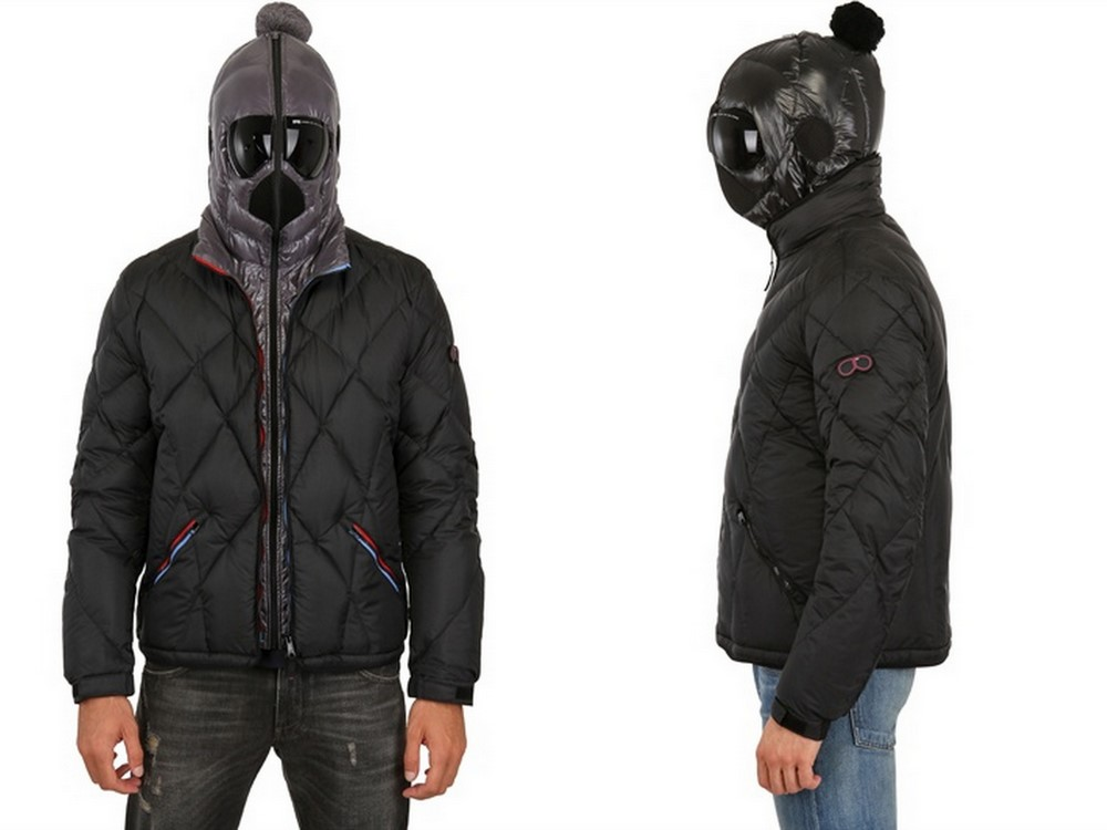 Down jacket with goggles