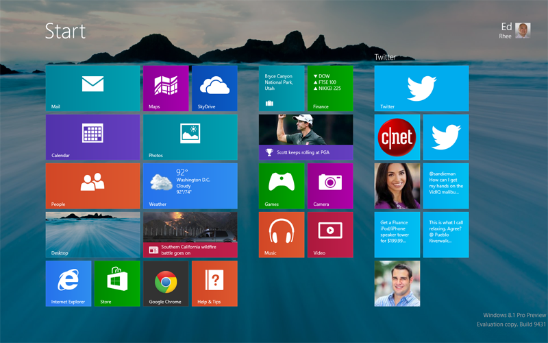 Windows 8 Start screen with pinned Twitter profiles