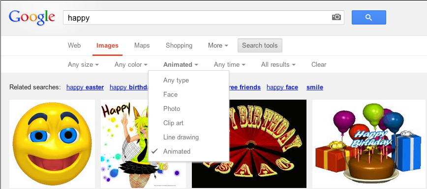 Animated GIF search in Google Images.