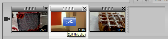 Editing a clip in YouTube.