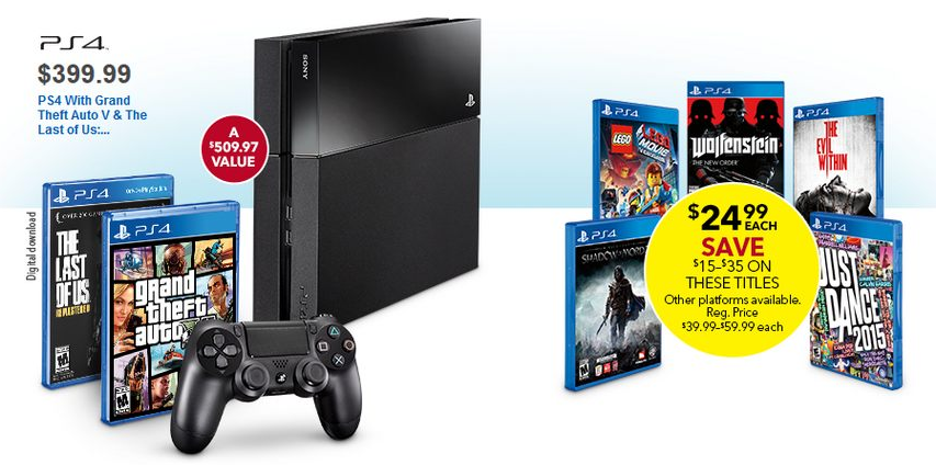 PlayStation 4 + Grand Theft Auto V and The Last of Us: Remastered -- $399.99 (GameStop, Best Buy)