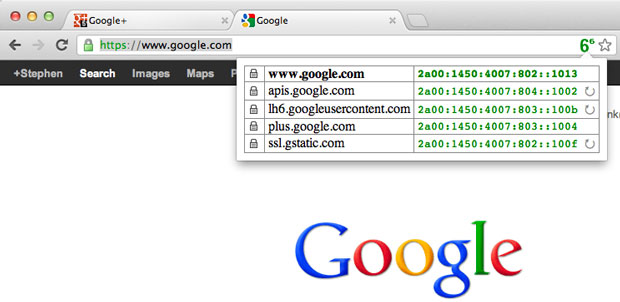 Google.com now is available over IPv6, as shown by these green entries that the IPvFoo Chrome extension displays.