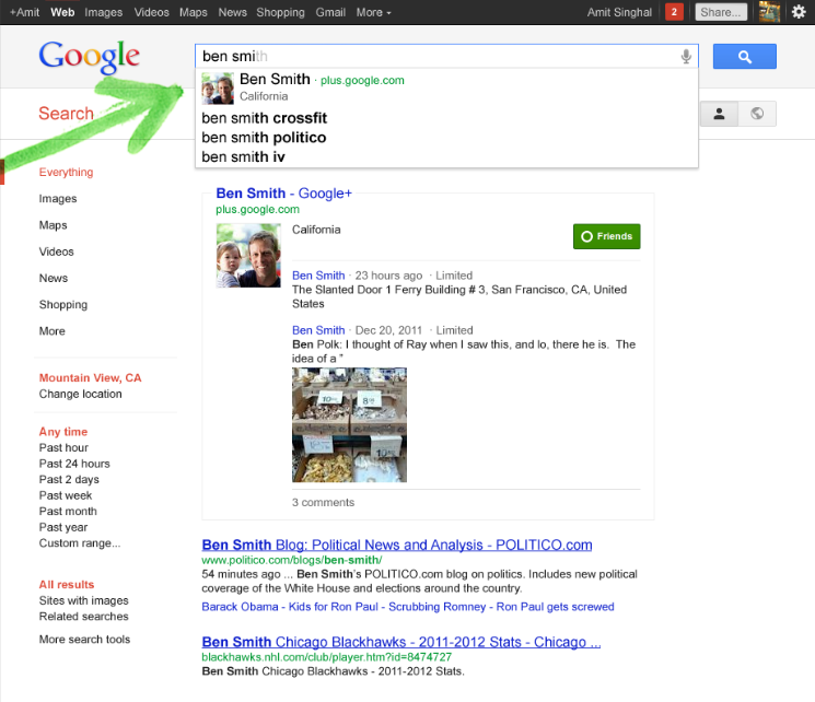 With personal search, Google will auto-suggest Google+ contacts and profiles when it recognizes names and keywords.