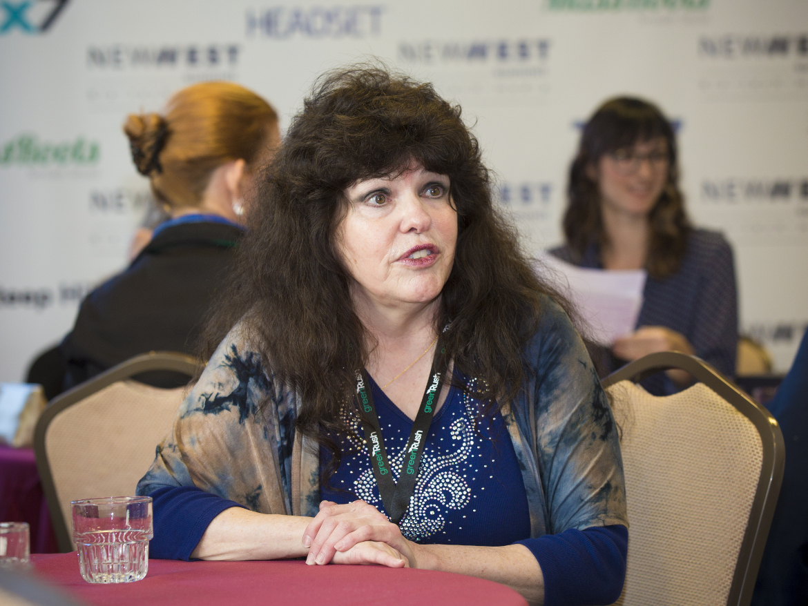 """""""Godmother of marijuana dispensaries"""" Lynette Shaw at the New West Summit in San Francisco on Friday. The conference was devoted to the melding of tech and pot."""