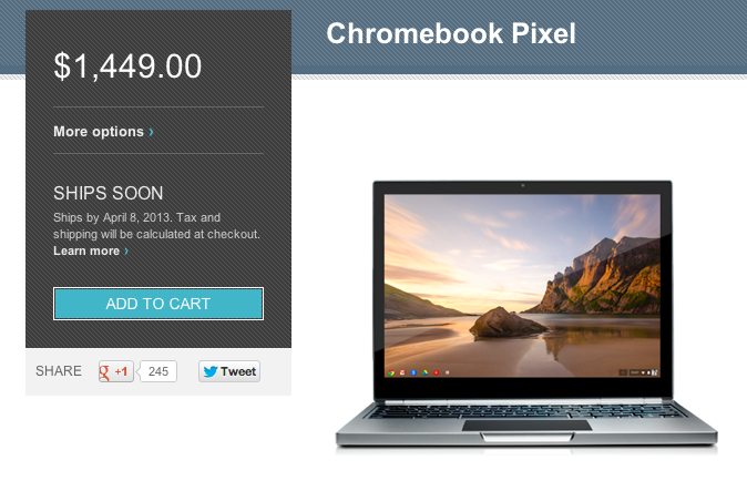The Chromebook Pixel with LTE, now in the Google Play store.