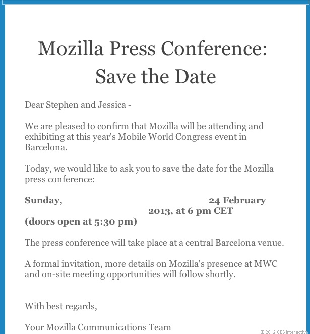 Save the Date for Mozilla at MWC 2013