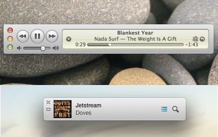 The mini player in iTunes 10.7 (top) and in iTunes 11 (bottom).