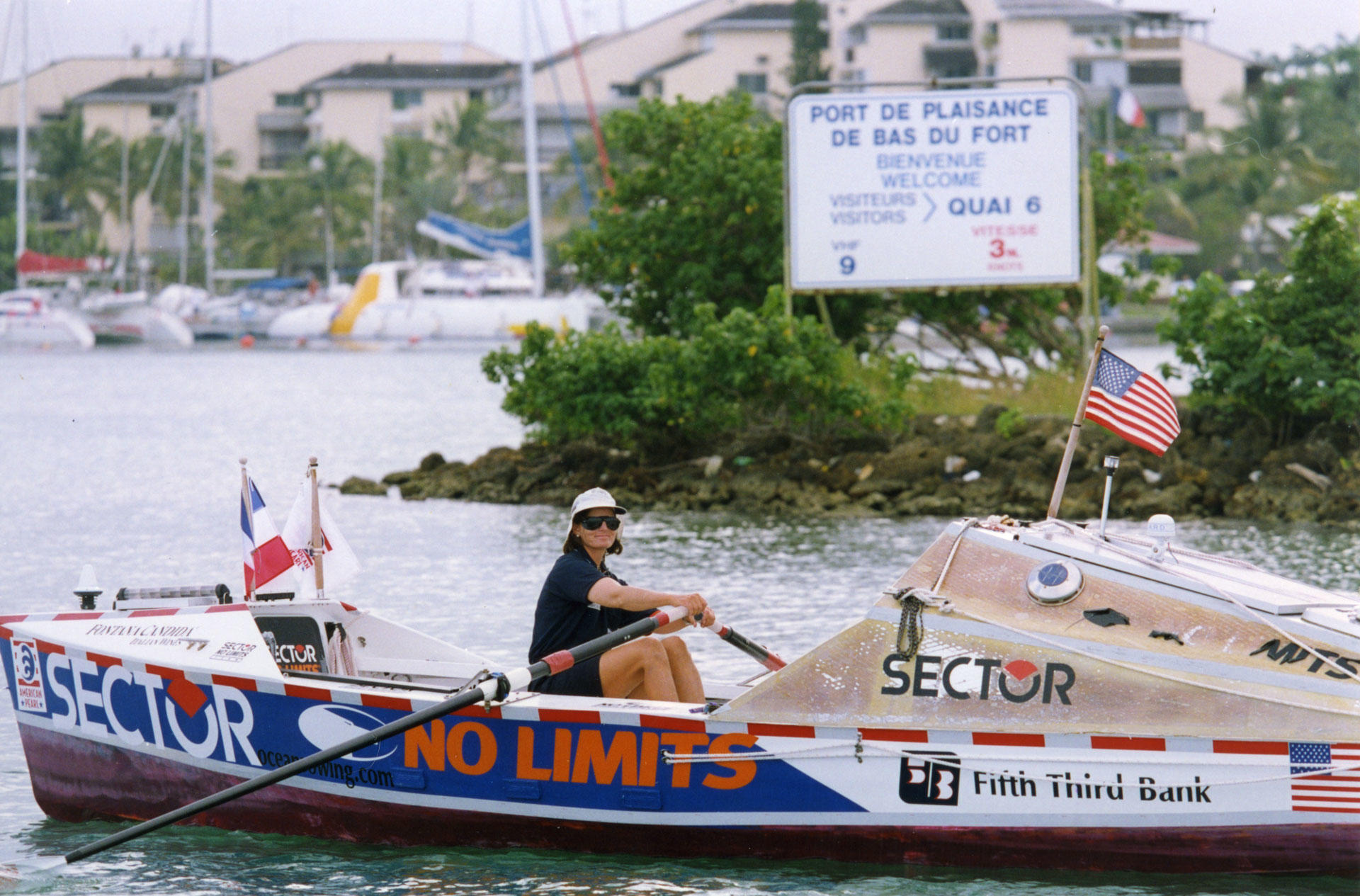 Tori Murden McClure in her rowboat near her final destination in Guadeloupe, after rowing 3,333 miles over 81 days.