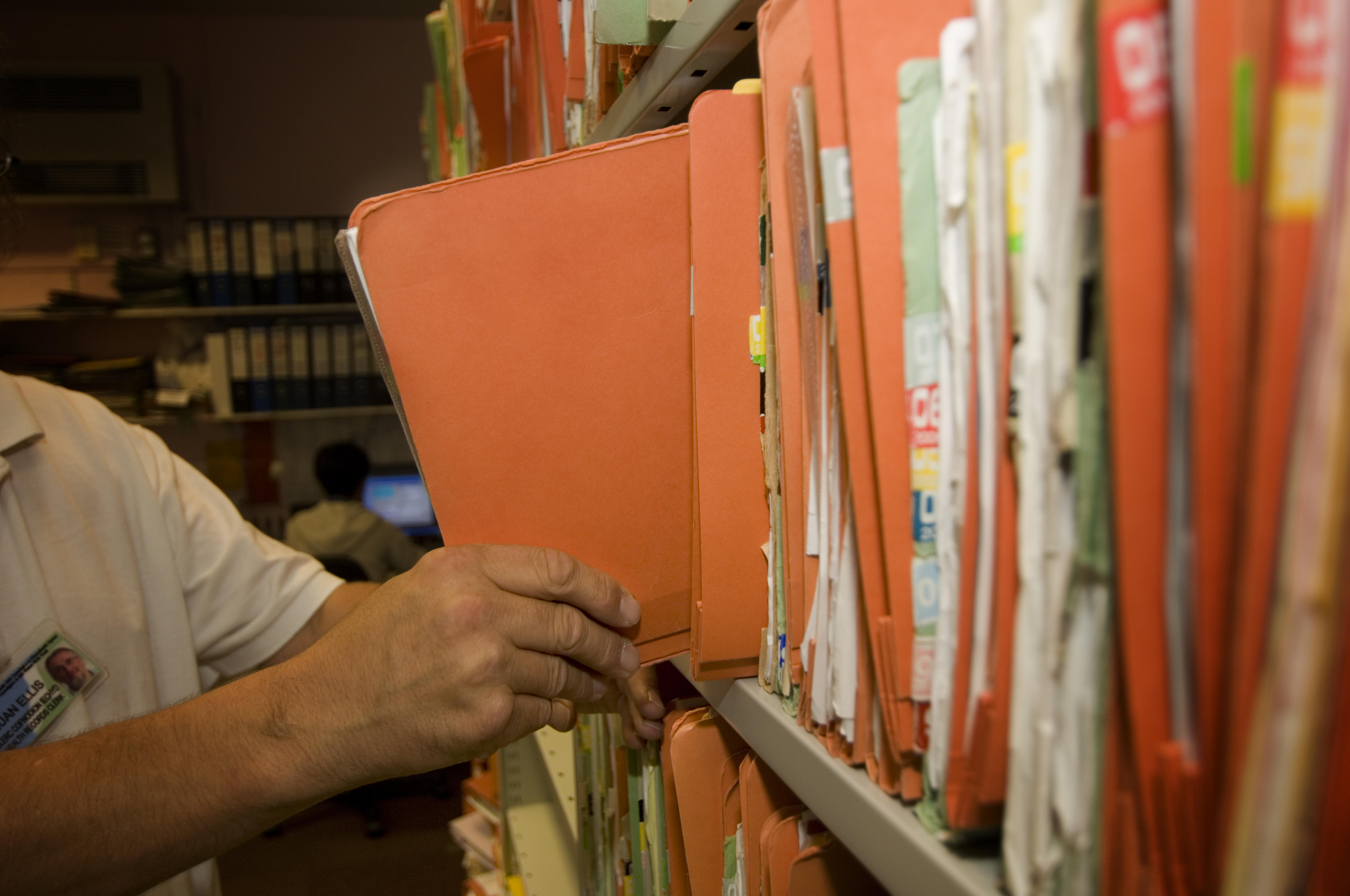 Medical records at Bronglais Hospital, Ceredigion National Health Trust, Aberystwyth, Wales