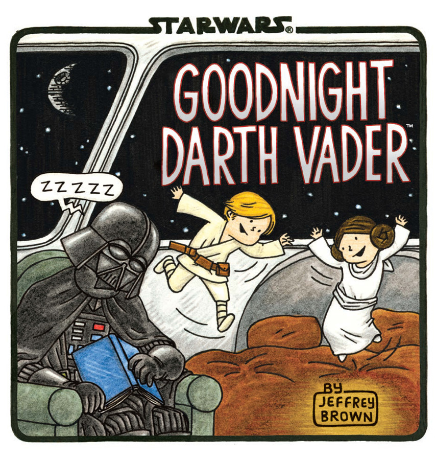 """""""Goodnight Darth Vader"""" by Jeffrey Brown portrays Darth Vader as a dad who tries to get his children to fall asleep without using Jedi mind tricks."""