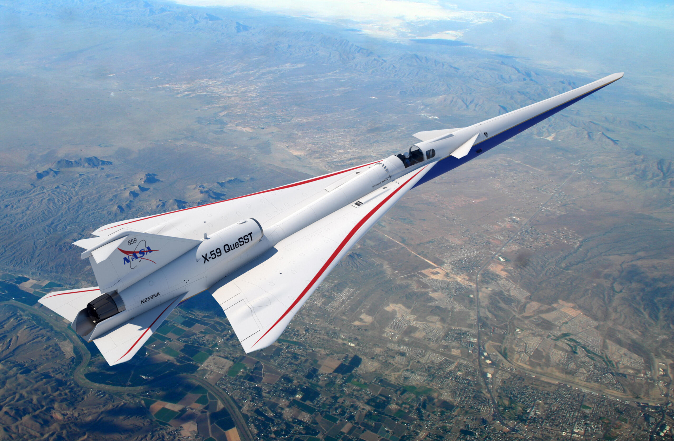 A render of the X-59 quiet supersonic airplane flying above the desert.
