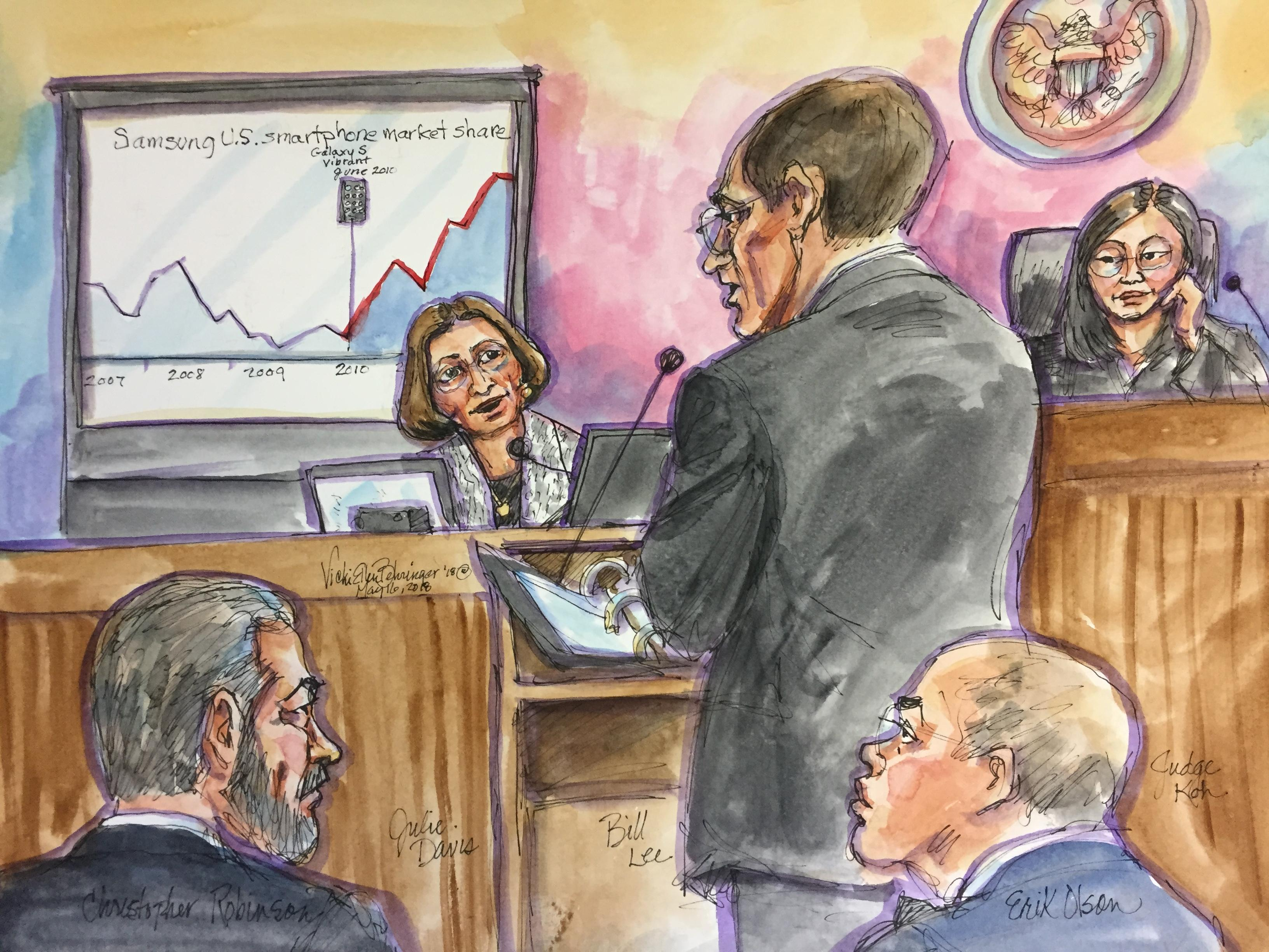 Accountant Julie Davis, a witness called by Apple, calculated that Samsung should pay Apple more than $1 billion for infringing three Apple design patents.