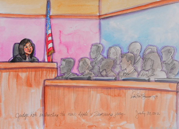 U.S. District Judge Lucy Koh talks to the jury in the Apple vs. Samsung trial.