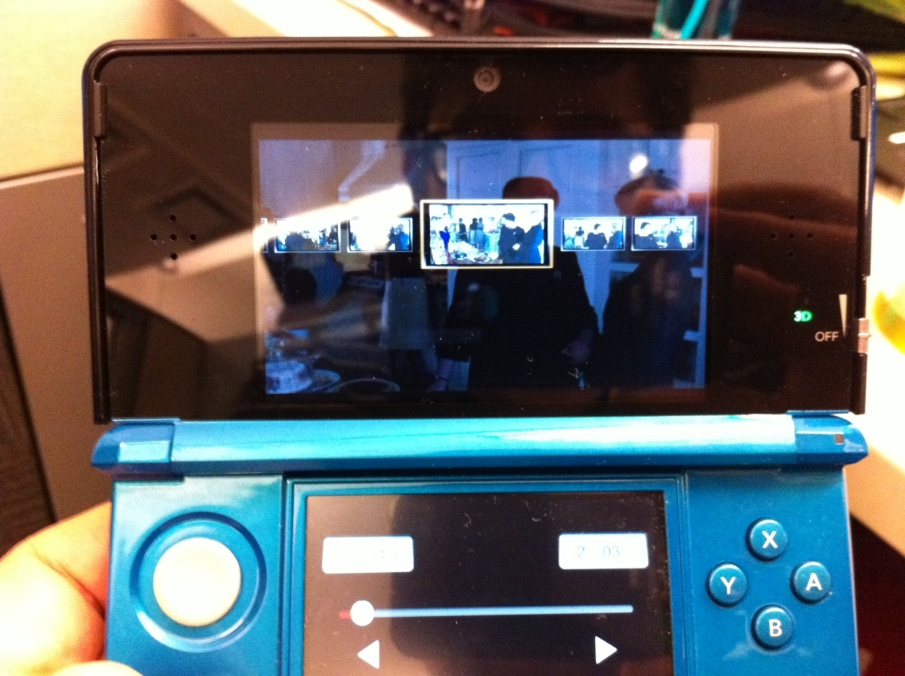 Skipping forward on the bottom screen's touch controls