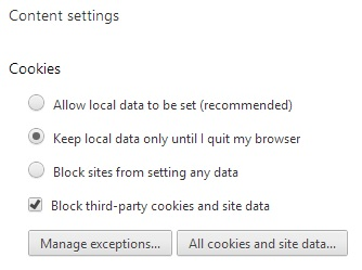 Google Chrome Content settings for privacy