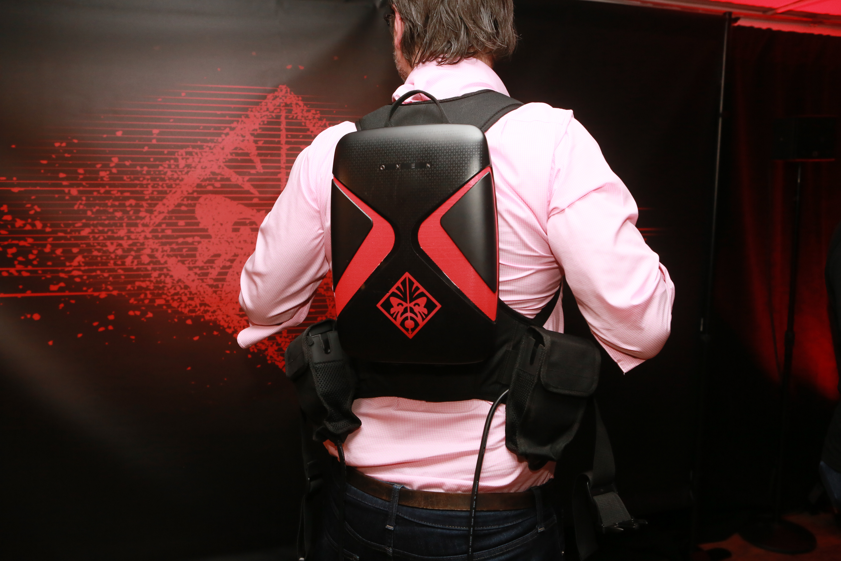 The HP Omen X VR backpack lets you bring the entire computer with you, battery power and all.