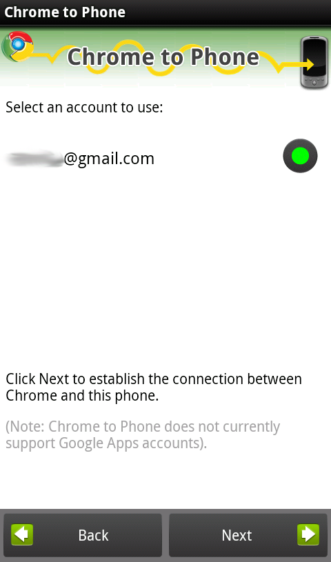 Chrome to Phone Android Select Account