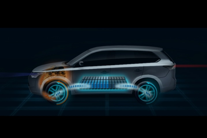 A graphic of the 2013 Mitsubishi Outlander plug-in hybrid powertrain.