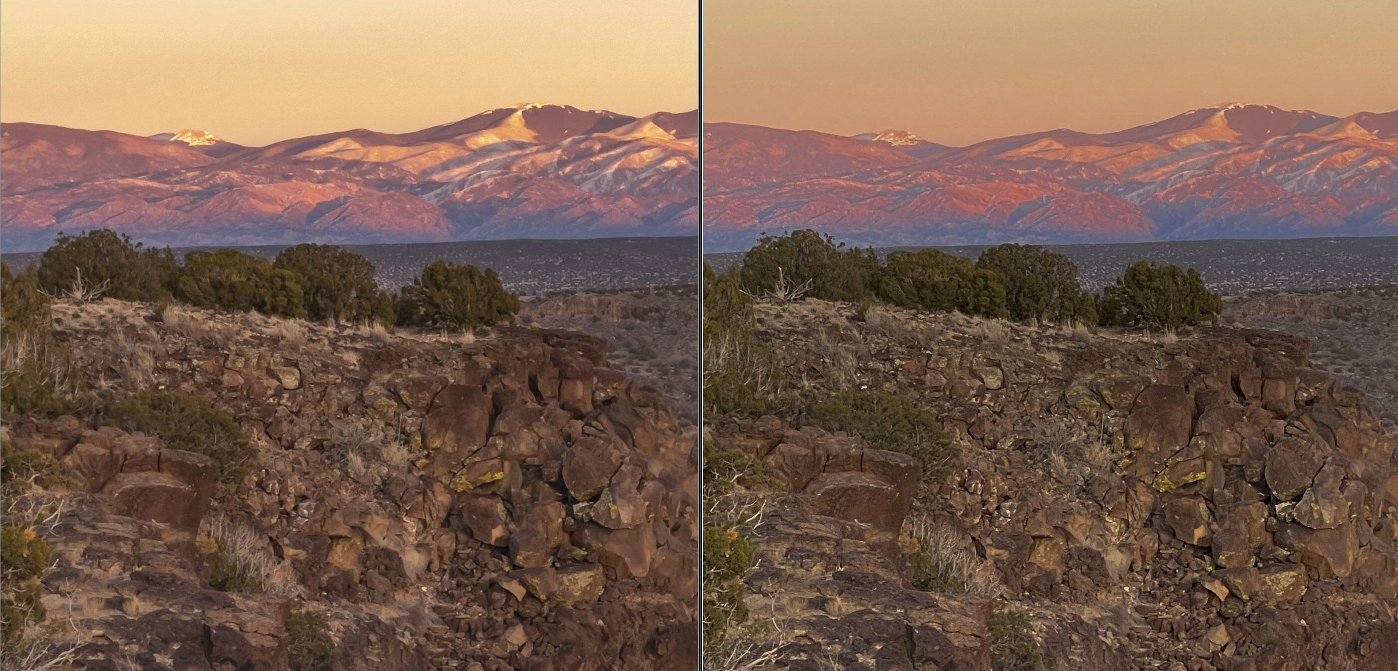 The ProRaw image to the left offers a natural view to the Sangre de Cristo Mountains at sunset, left. On the corresponding JPEG, the mountains look overprocessed and unrealistic.