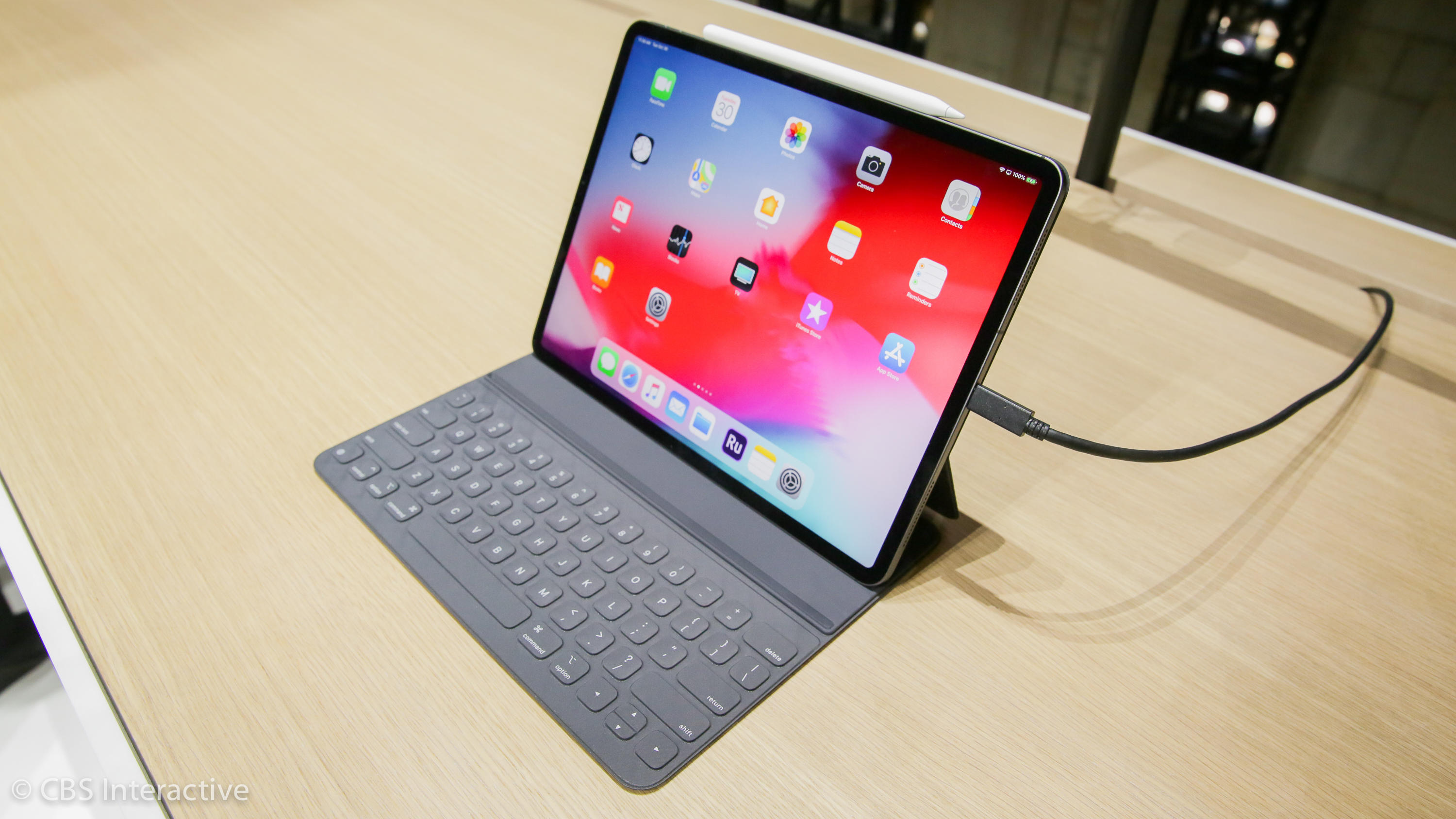 The 2018 iPad Pro models use a USB-C port to charge and connect to other devices.