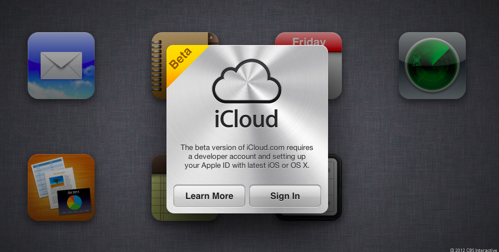 Notes and reminders hide underneath the iCloud logo on iCloud.com's beta site.