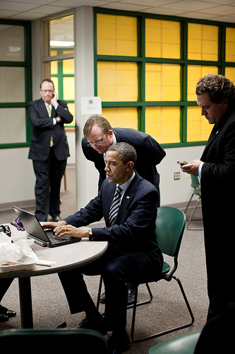 President Obama on a computer in Northern Michigan University last month.