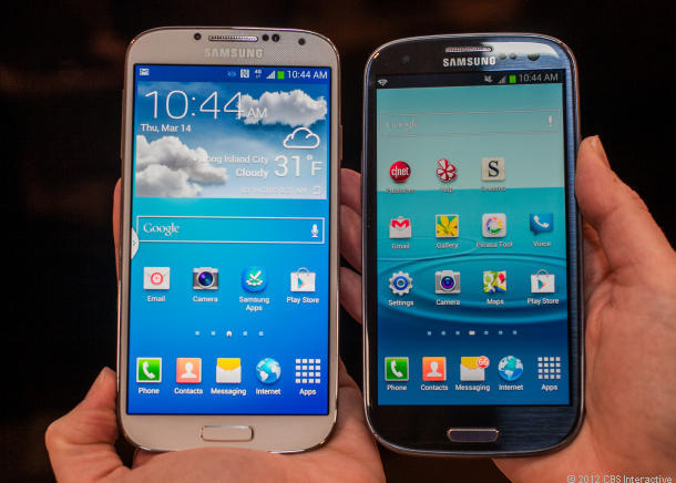 Samsung's Galaxy S4 (left) and its predecessor, the Galaxy S3.