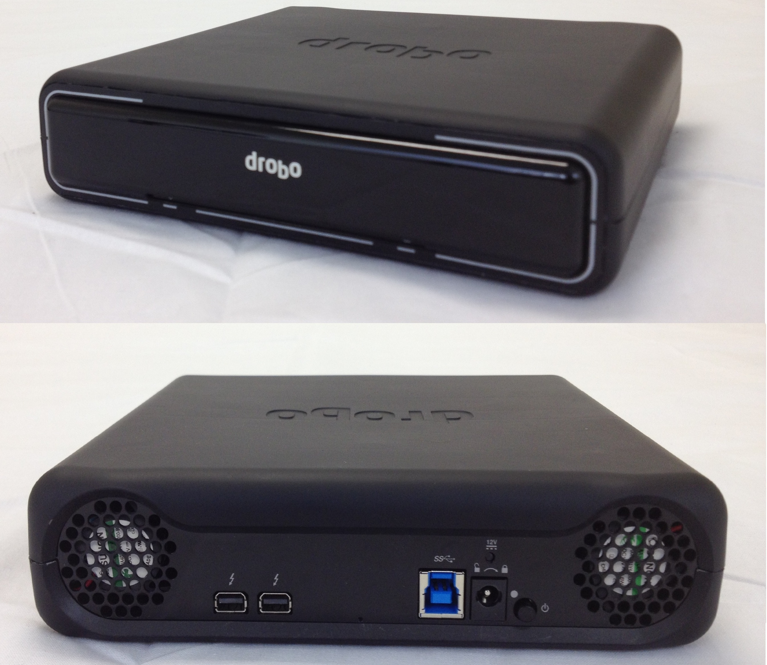 The front and back of the Drobo Mini, one of the first Thunderbolt storage devices on the market to also support USB 3.0.
