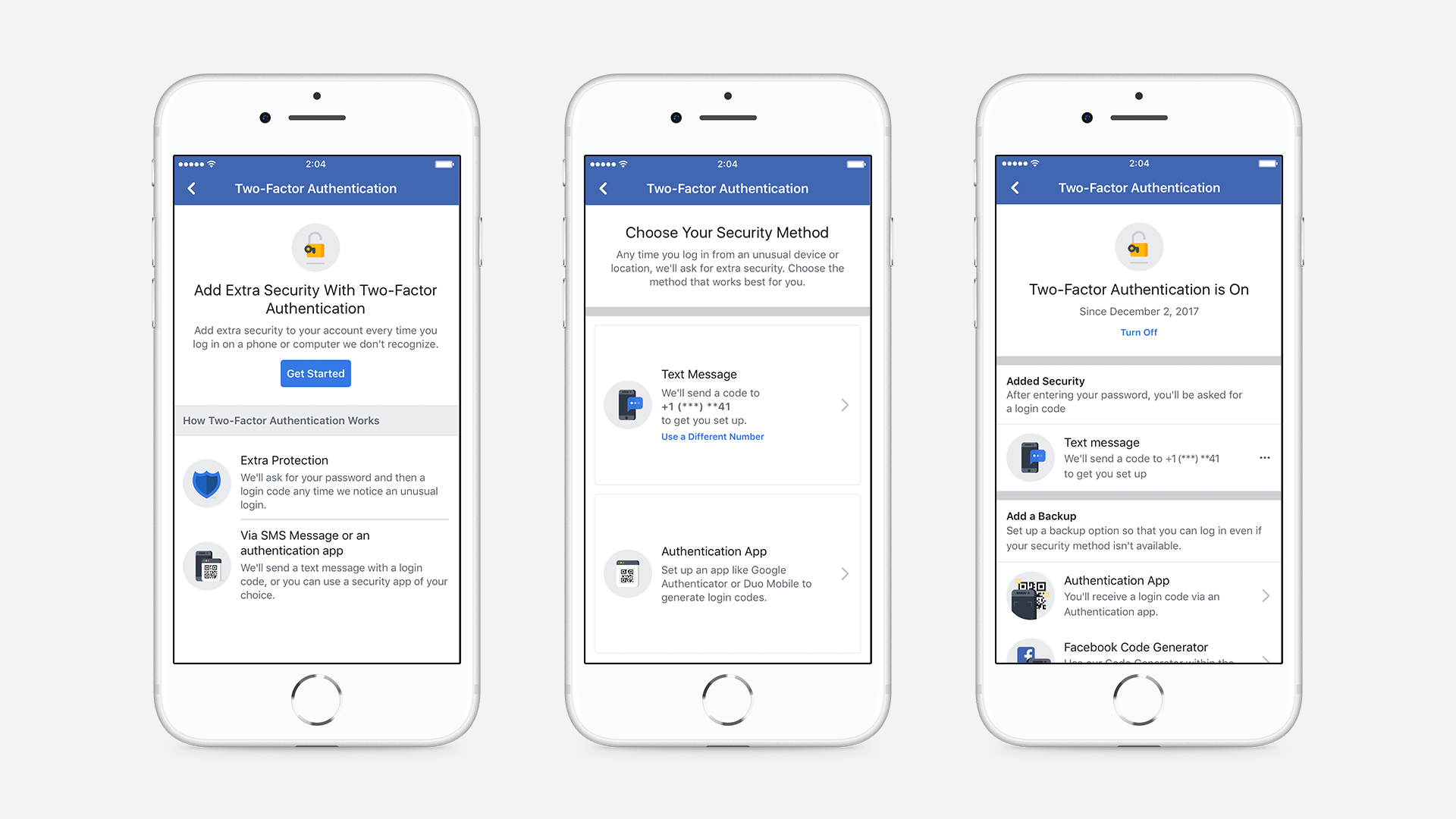 Three separate screen shots of Facebook's two-factor authentication set up as they appear on mobile phones.
