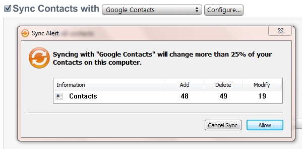 iTunes contact sync with Gmail